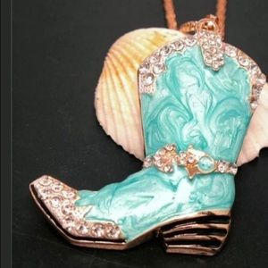Betsey Johnson cowboy boot necklace